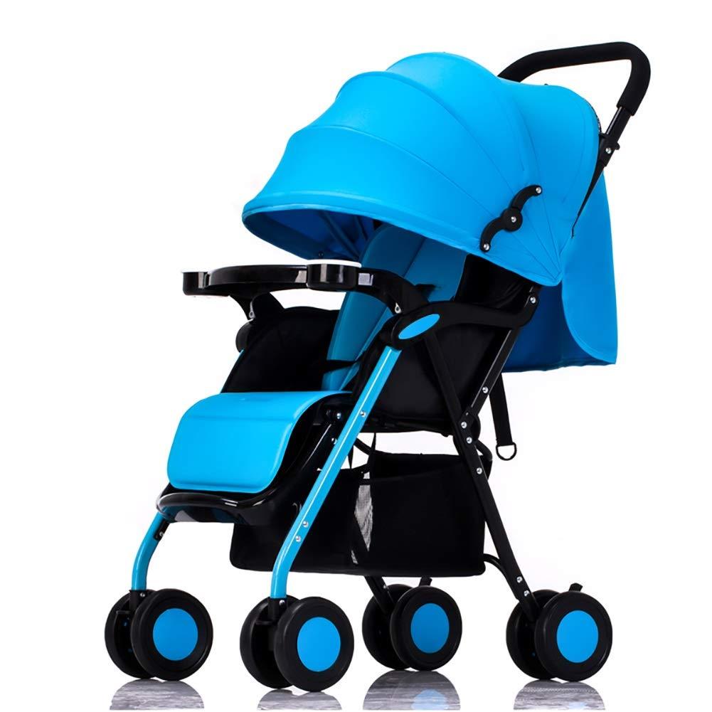Lll- 赤ちゃんのベビーカーは座って幼児の寝ることができますバギー軽量のポータブル折りたたみ式の新生児のベビーカーのトロリー (色 : 青)  青 B07QN5N9KV
