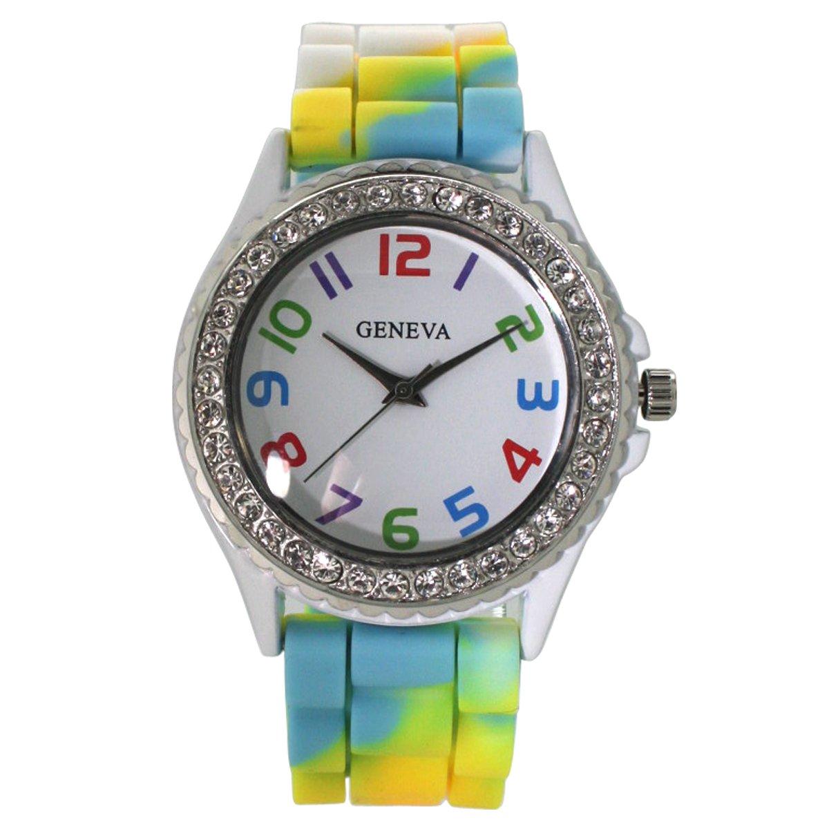Large Face Silicone Strap Band Watch withラインストーン ホワイト B07BRZS213 ホワイト ホワイト