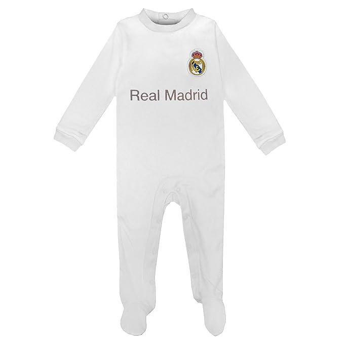 Real Madrid - Pelele oficial para bebés - Con los colores de la primera equipación - Blanco - 6-9 meses: Amazon.es: Ropa y accesorios