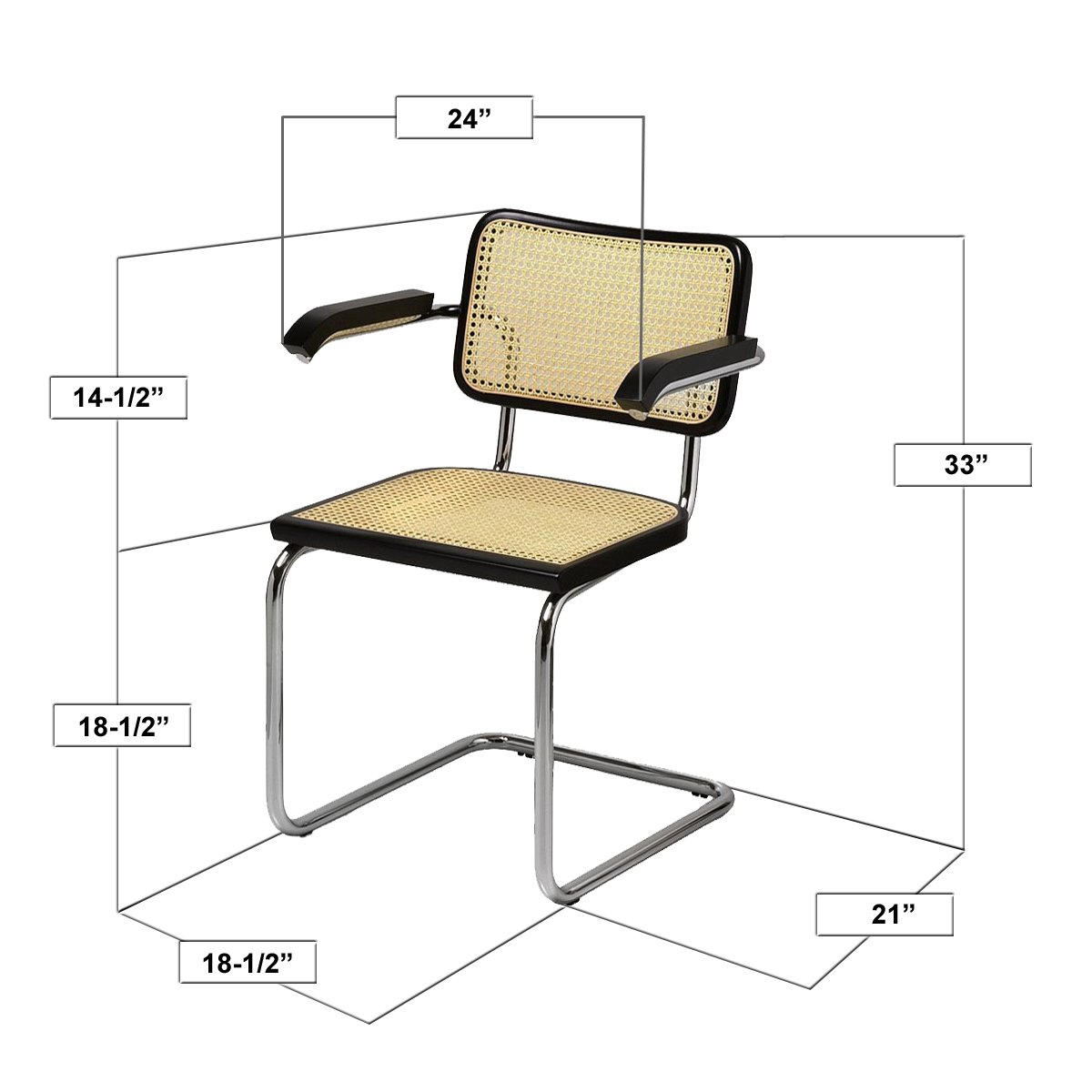 amazoncom marcel breuer cesca cane chrome arm chair in natural chairs