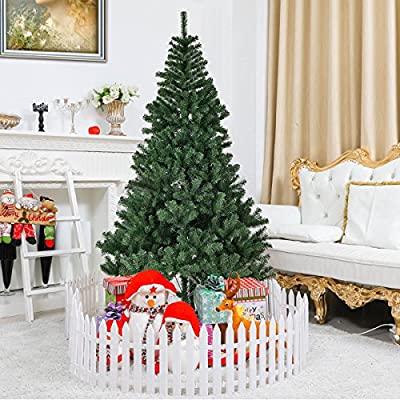 Goplus Artificial Christmas Tree Unlit Premium Spruce Hinged Tree with Metal Stand for Indoor & Outdoor
