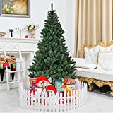 Goplus 7ft Christmas Tree Artificial Unlit Premium Spruce Hinged Tree with Metal Stand for Indoor & Outdoor, Green