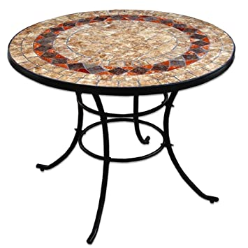 Ethnic Chic Table Ronde en Fer forgé de Jardin Top en céramique ...