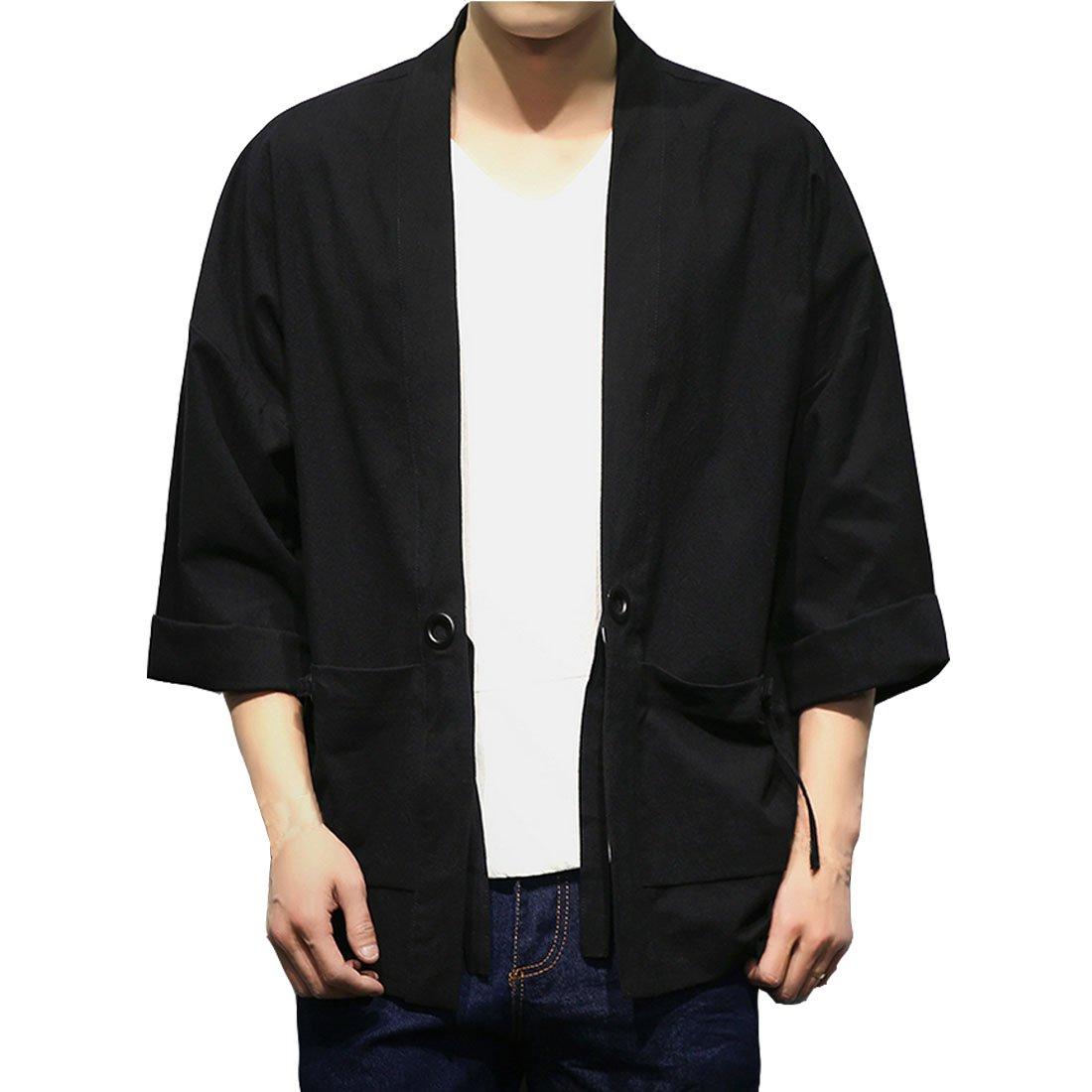 Hzcx Fashion Men's Cotton Blends Linen Open Front Cardigan Kimono Jackets QT4018-M707-60-B-US S(34) TAG M