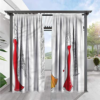 Amazon.com: Girls Balcony Curtains Sketch Capital City ...