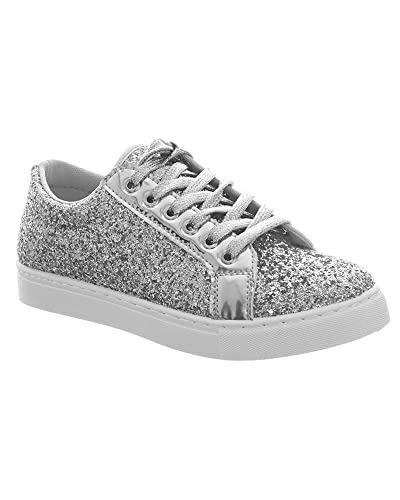 601bbf88cc5 FLIRTY WARDROBE Womens Ladies Glitter Shiny Trainers Party Comfort Lace Up Shoes  Sneakers Shoe  Silver