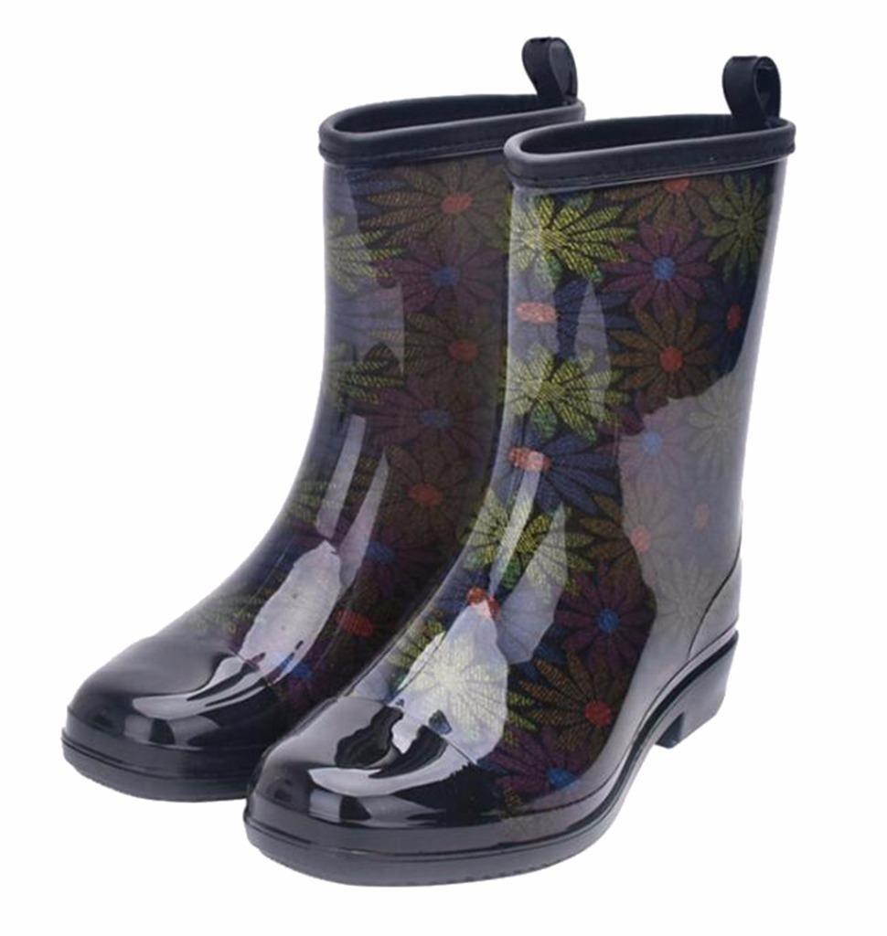 Jiu du Women's Block Heel Waterproof Rain Boots and Garden Round Toe Fashion Rain Shoes Green PVC Size US8 EU40
