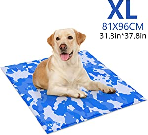 GoPetee Cooling Mat for Dogs Washable Cooling Mat Ice Silk Pet Self Cooling Pad Blanket Cooling Pad Non-Toxic Gel Summer Sleeping Bed (XL-31.8 X 37.8 in)
