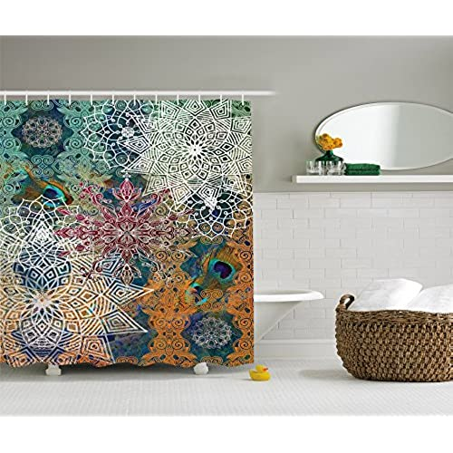 Ambesonne Bohemian Shower Curtain Boho Yoga Decor By Natural Peacock Feather Batik Hippie Mandala Medallion Fabric Bathroom Set With Hooks