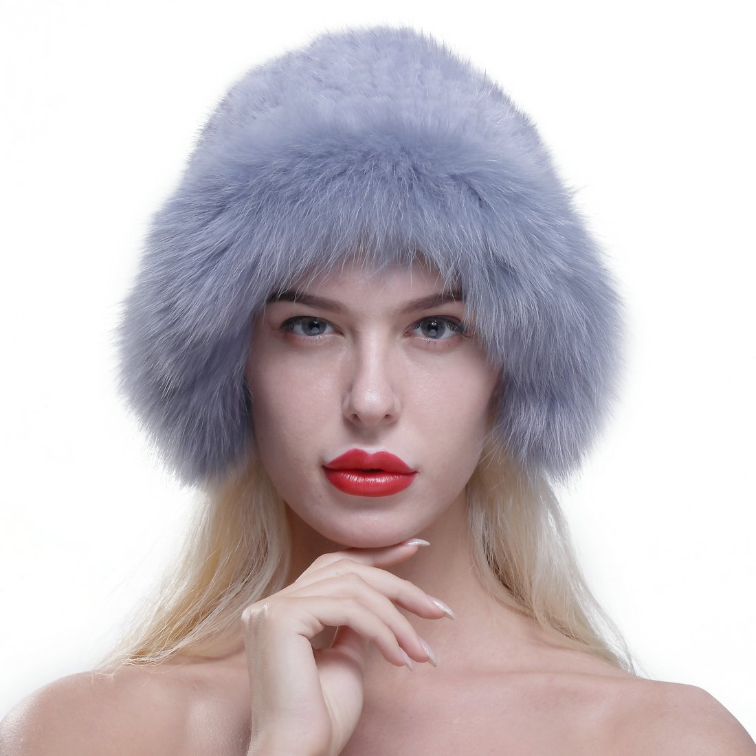 URSFUR Genuine Fox Fur Roller Hat with Knit Mink Top Sapphire