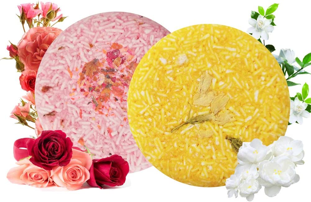 VERT Champú Sólido 2 PACK, Jabones de Champús y Acondicionadores Cabello Graso, Cuidado del pelo y del cuero cabelludo Organico Vegan Champú Natural Solido para Hombres Mujer (Rosa & Jazmín)