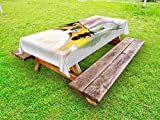 Ambesonne Modern Outdoor Tablecloth, Girl with Cat Taking Bath Spa Aroma Theraphy Relaxing Peaceful Massage Illustration, Decorative Washable Picnic Table Cloth, 58 X 104 inches, Multicolor