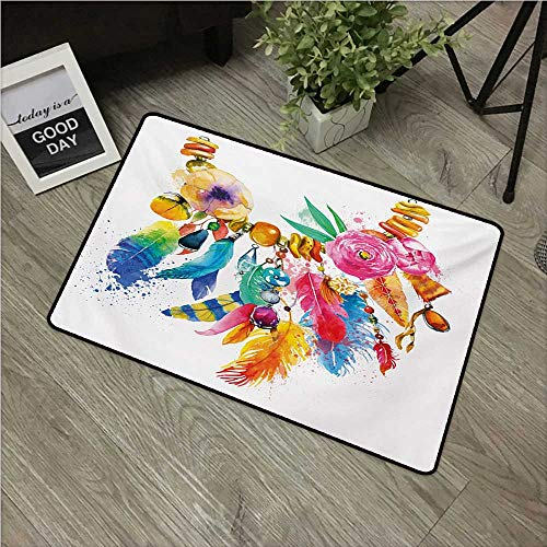 Feather,Carpet Flooring Bohemian Inspired Vibrant Colored Image Flowers Ornamental Elements Leaves Print W 24