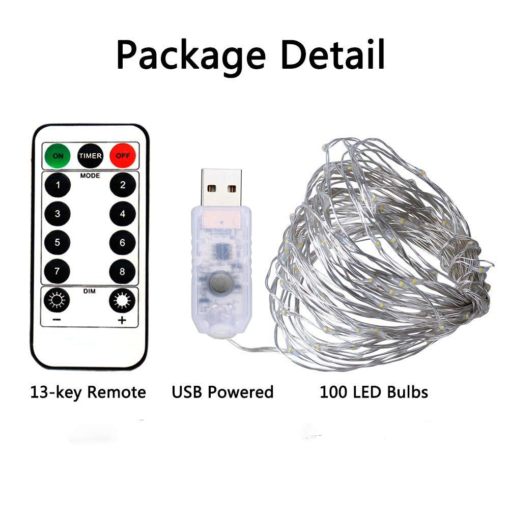 BXROIU 100LEDs Micro Fairy Lights in 10M Silver Wire with USB Remote Control 8 Program and Timing Dimming LED Lights for Party, Room Decoration, Christmas Pack of 2 (Cool White)