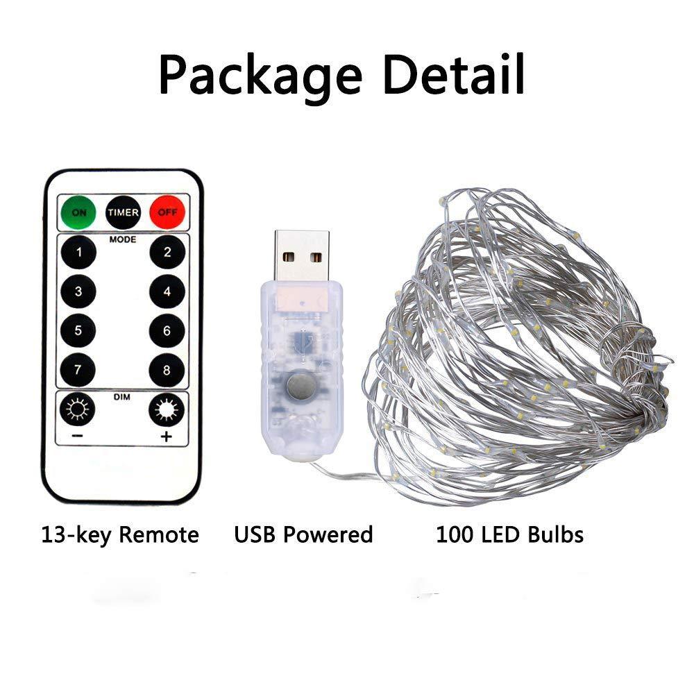 BXROIU 2 x 100LEDs Lichterkette im 10M Silberdraht USB-Anschluss mit Fernbedienung 8 Programm und Zeitwahl Dimmen (Kaltes Weiß)