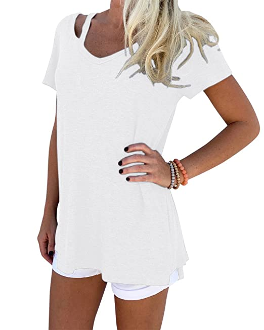 Mujeres Blusa Camiseta Sueltan Tops Ocasional V-Cuello Blusas Manga Corta Camisetas Blanco L