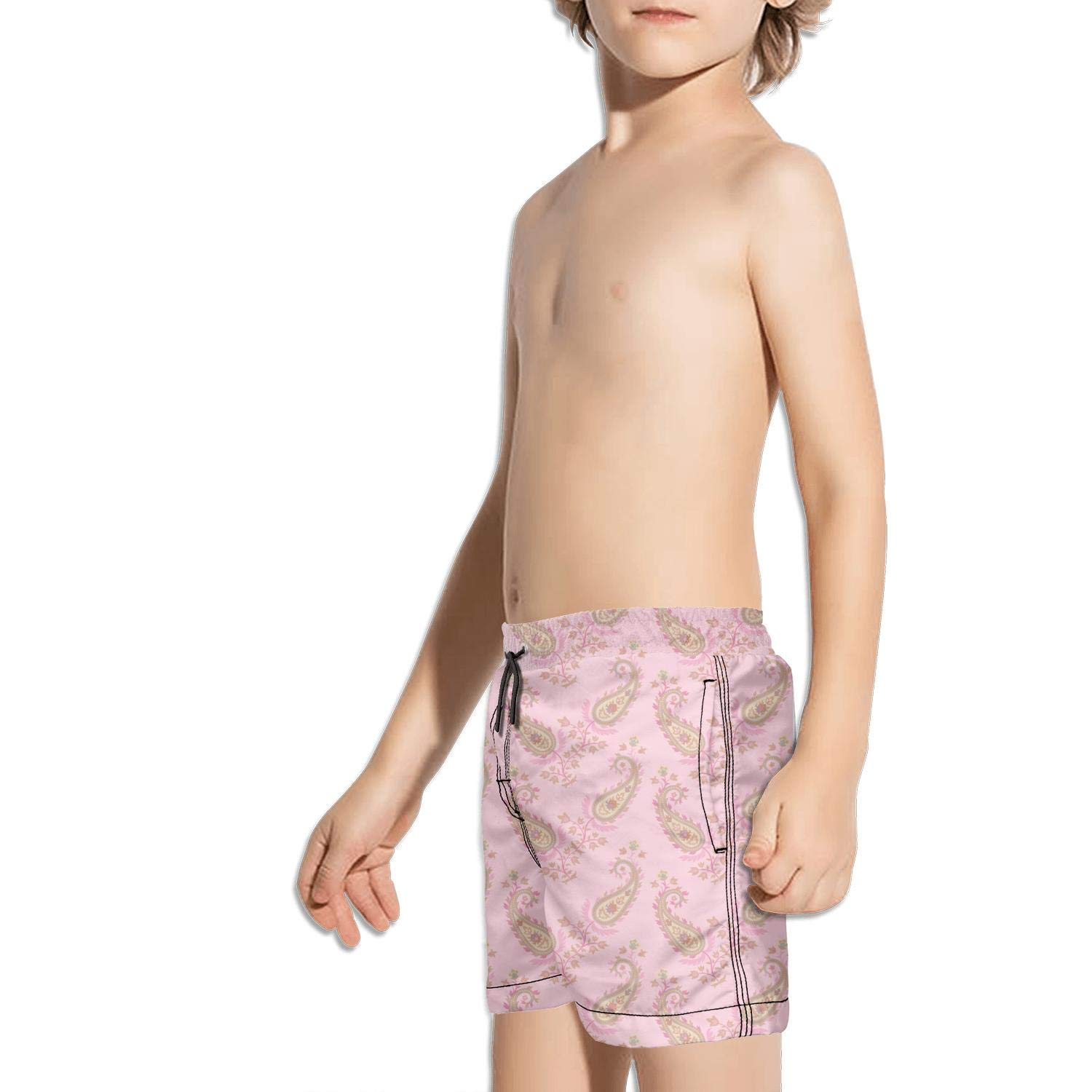 Pink Flowers Paisley Vacation Sporty Side Split Swimming Trunks Shorts