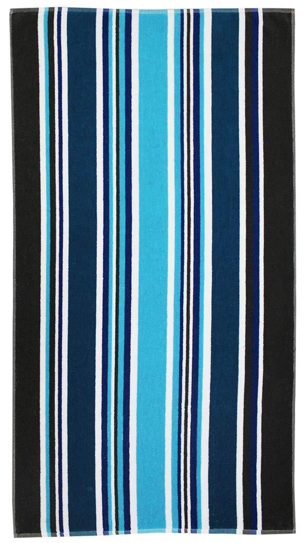 Cotton Craft - 2-Pack XL Jacquard Woven Velour Beach Towel - 39x68 inches - 100% Cotton - Cancun Blue Stripe