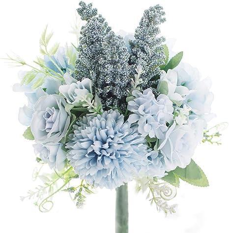 Amazon Com Artificial Flowers Fake Hydrangea Silk Rose Plastic Carnations Small Artificial Flower Arrangements Decor Bouquet For Wedding Table Centerpieces Blue Furniture Decor
