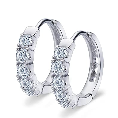 b6cc1fd04 ELEGANCE PARISIENNE Stylish Hoop-Earrings 18k White-Gold-Plated SWAROVSKI  ELEMENTS For Women
