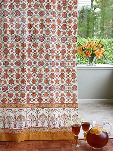 - Saffron Marigold Orange Blossom Curtain Panel | Hand Printed Orange Yellow Floral Summer Spring Persian Sunflower Drapes Window Treatment Curtains for Living Room, Bedroom, Home Decor 46 x 96