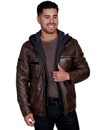 fbaf2cb3 Scully Mens Karl Leather Jacket with Zip Out Hoodie