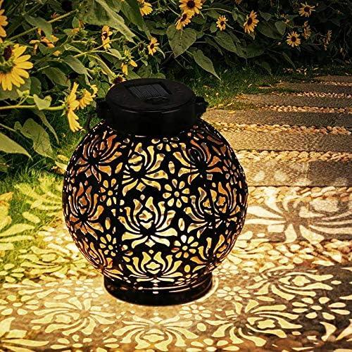 Solare Lanterne da giardino esterno,LED Lanterna Solare Giardino,Impermeabile lanterna solare per Esterni IP55,Sensore Luce Calda Luce Solare Decorativo per Decorativo per Giardino,Patio,Cortile
