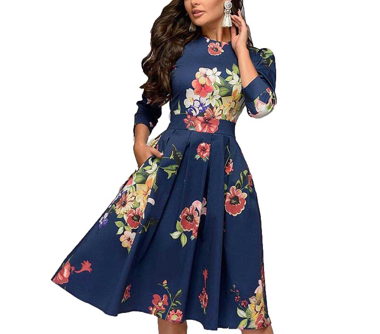Manal 0589 Bell CoraSheep Women Elegant Aline Vintage Printing Three Quarter Sleeve Spring Dress