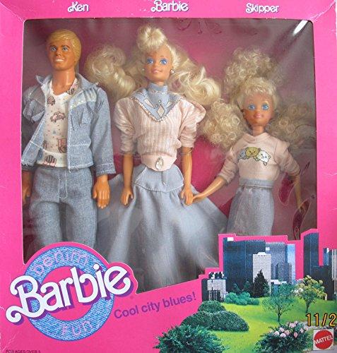 1989 Barbie (DENIM FUN BARBIE Cool City Blues 3 DOLL Set w KEN, BARBIE & SKIPPER DOLLS (1989 Mattel Hawthorne))
