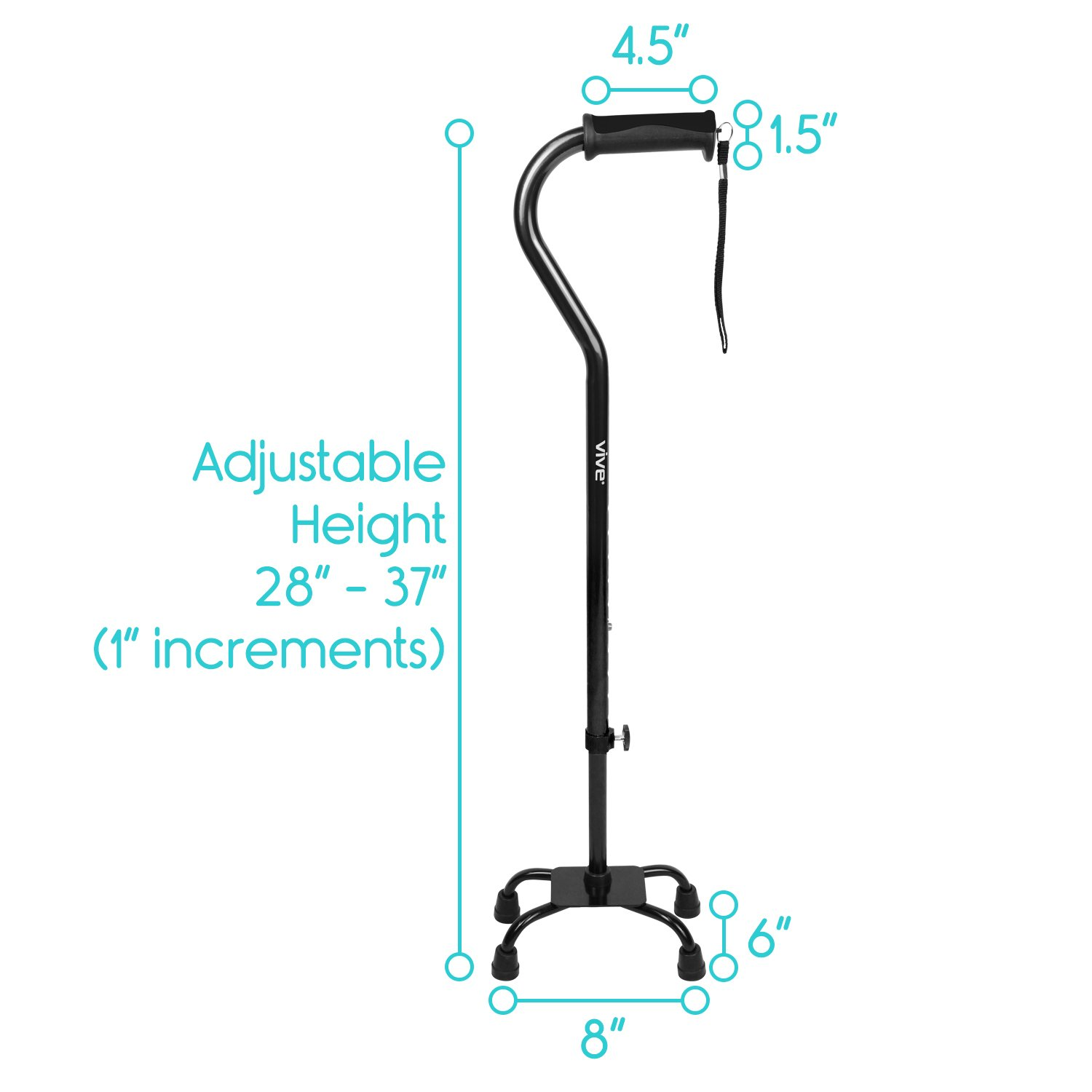 Adjustable Quad Cane by Vive - Lightweight Walking Stick for Men and Women - Walking Staff Can Be Used By Right- or Left-Handed Individuals - Fashionable and Sturdy (Black) by VIVE (Image #8)