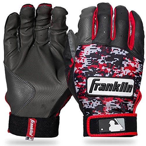 Franklin Sports MLB Digitek Baseball Batting Gloves - Gray/Red Digi - Youth Large