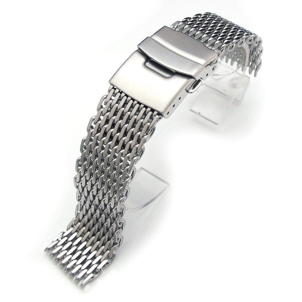 19mm Ploprof 316 Reform Stainless Steel ''SHARK'' Mesh Milanese Watch Band, Brushed, AB