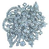 Sindary 2.56'' Silver Tone Clear Rhinestone Crystal Bridal Flower Hair Comb Wedding Headpiece HZ4646
