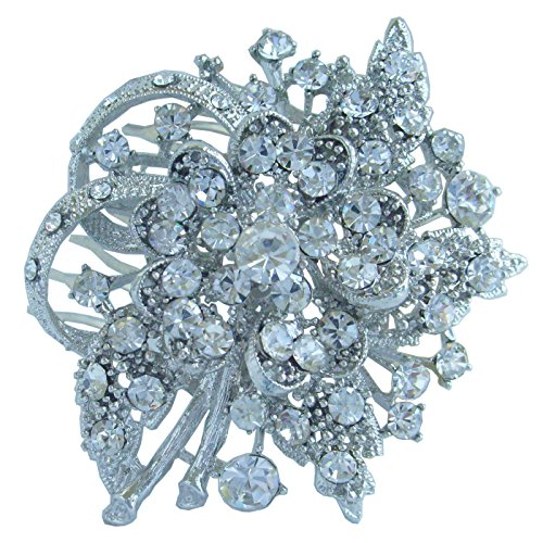 Sindary 2.56'' Silver Tone Clear Rhinestone Crystal Bridal Flower Hair Comb Wedding Headpiece HZ4646 by Wedding Hair Accessories-Sindary Jewelry