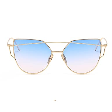 9e0a936f4d Women Luxury Cat eye Brand Design Mirror Flat Rose Gold Vintage Cateye  Fashion sun glasses lady