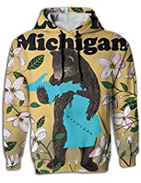 I Love You Michigan Happy Bear Men Cotton Fashion Pullover Hoodie With Pocket