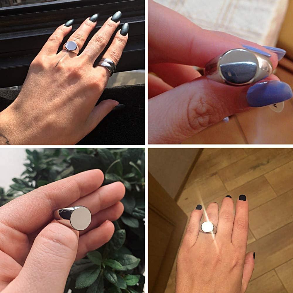 Valily Damen Herren Ringe Poliert Edelstahl//Gold//Schwarz Round Siegelring Unisex Ring Gr/ö/ße 49-69