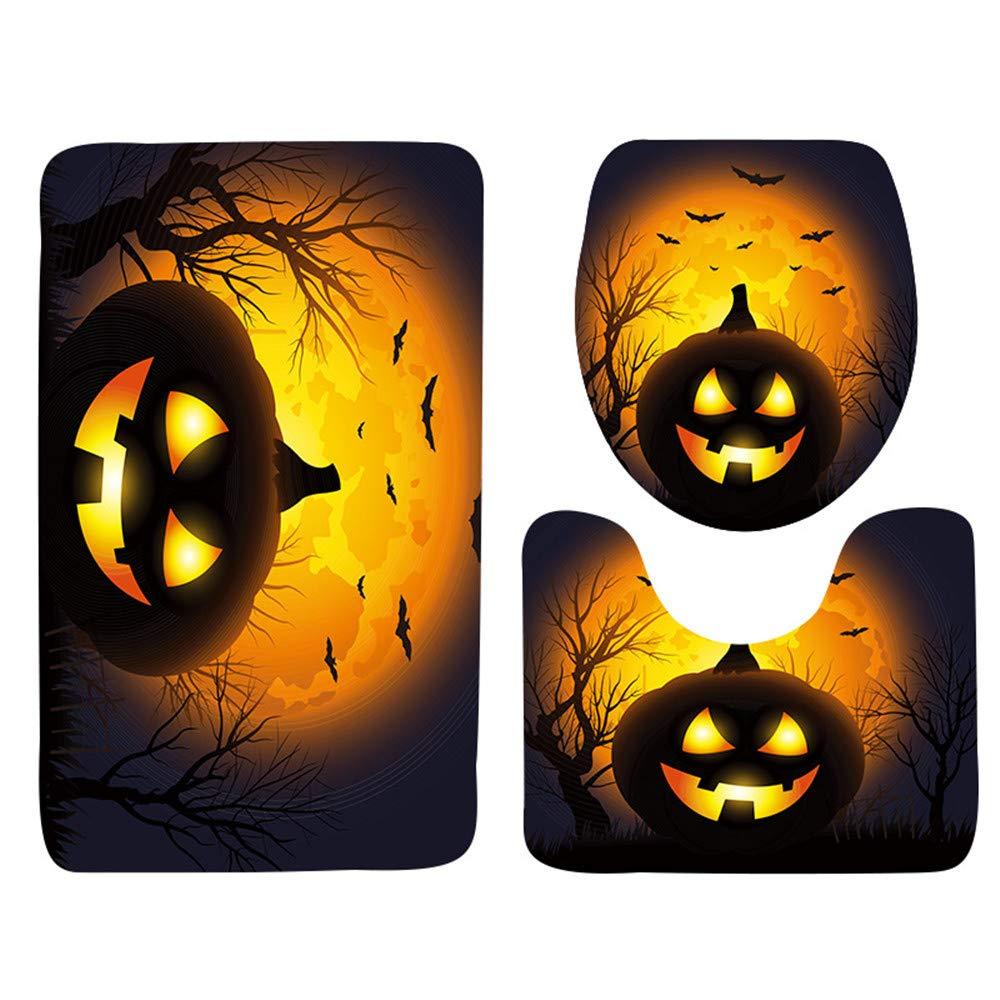 Bathroom 3 Piece Set, Halloween Festival Atmosphere Decoration Non-slip Bath Mat Microfiber Soft Bath Shower Mats Contour Rug Toilet Lid Cover Combo for Home Kitchen Dining Hotel Floor by elecfan
