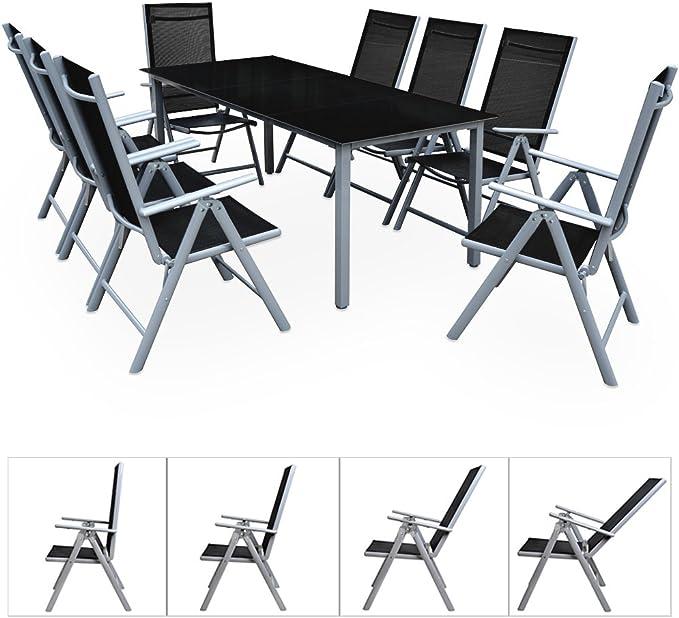 Deuba | Salon de Jardin 8+1 Bern • 1 Table, 8 chaises • Aluminium avec  Table en Verre • dossiers Hauts Pliables | Ensemble, Gris