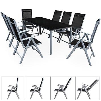 Amazon.de: Deuba® Aluminium Sitzgruppe 8+1 Silber | 8 verstellbare