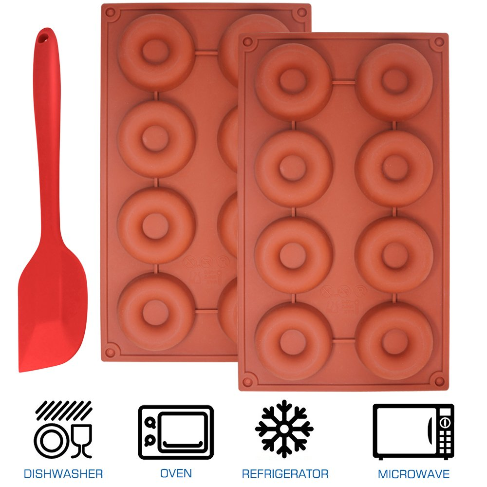 2 Packs of 8-Cavity Silicone Donut Mold with Spatula, SourceTon 3 pcs pack of Donut Pans and Spatula Set, Non-Stick Baking Pan, Heat Resistant, Flexible, Brown by SourceTon (Image #5)