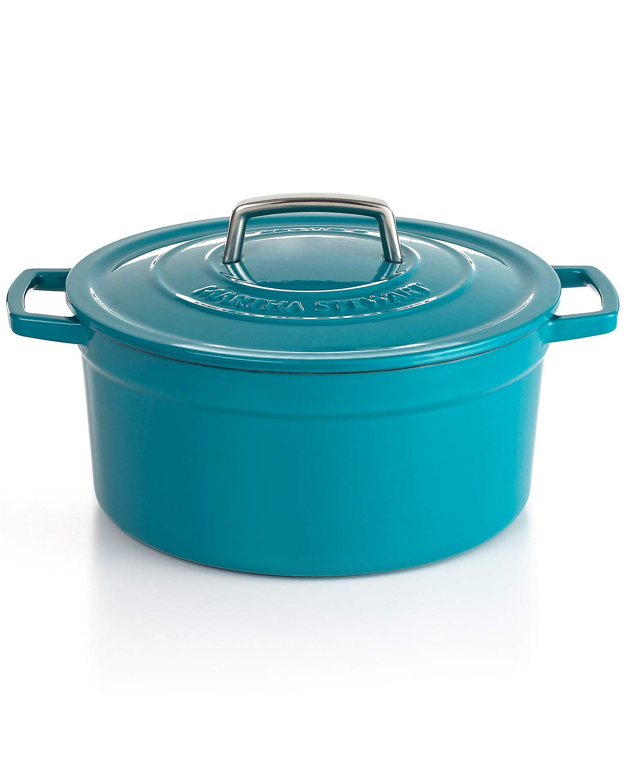 Martha Stewart Teal Blue Enameled Cast Iron 6 Qt. Round Dutch Oven Casserole