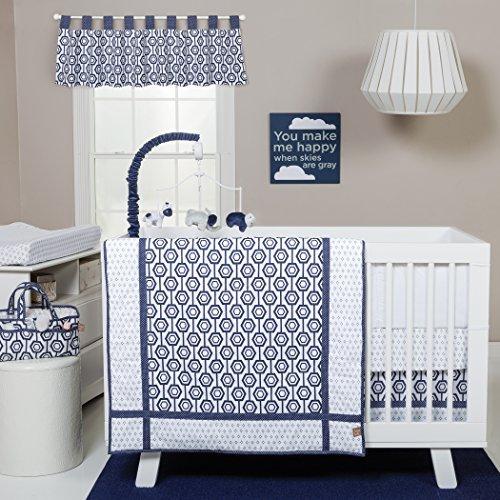 Trend Lab Hexagon 3 Piece Crib Bedding Set, Navy/White [並行輸入品]   B077ZPBM4W