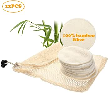 Reusable Makeup Remover Pads, 12 Packs 2 Layers 3.15inch Organic Bamboo Cotton Rounds With Laundry Bag, Washable Soft Facial Cleansing Cloths For Eye/Face Makeup Remover Wipe