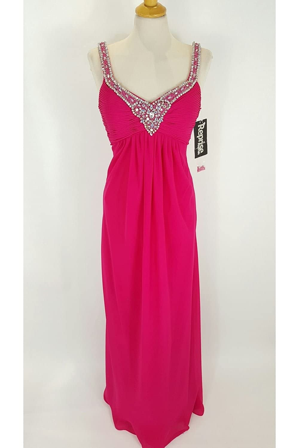 Crystal Breeze Cleopatra Fuchsia V Neck Long Dress