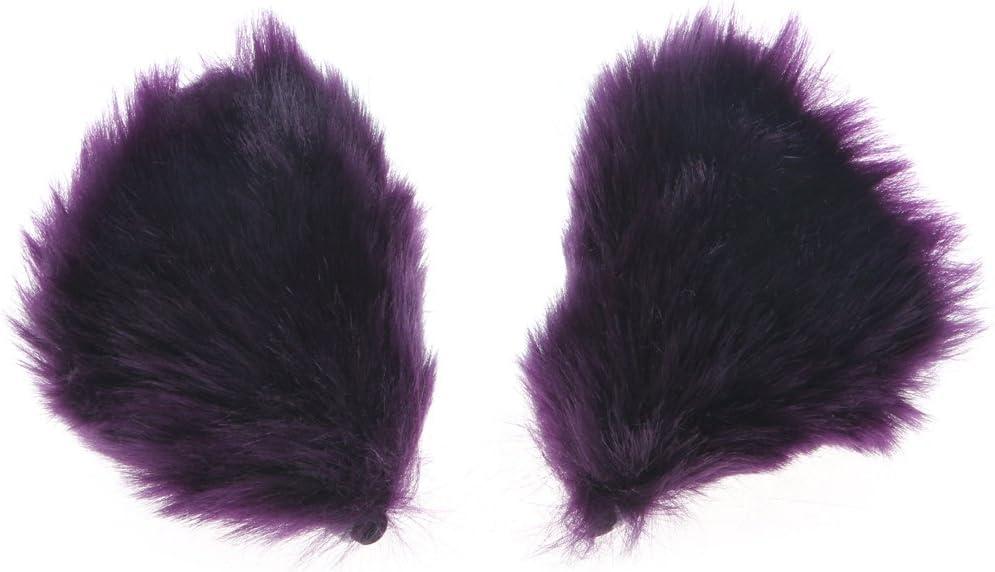 Autone Fox Cat Ear Shape Hair Clip Anime Cosplay Halloween Party Costume Orange/&Nude