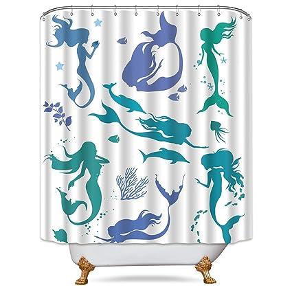 Riyidecor Colorful Mermaid Silhouette Shower Curtain Free Metal Hooks 12 Pack Cartoon Ocean Sea Life