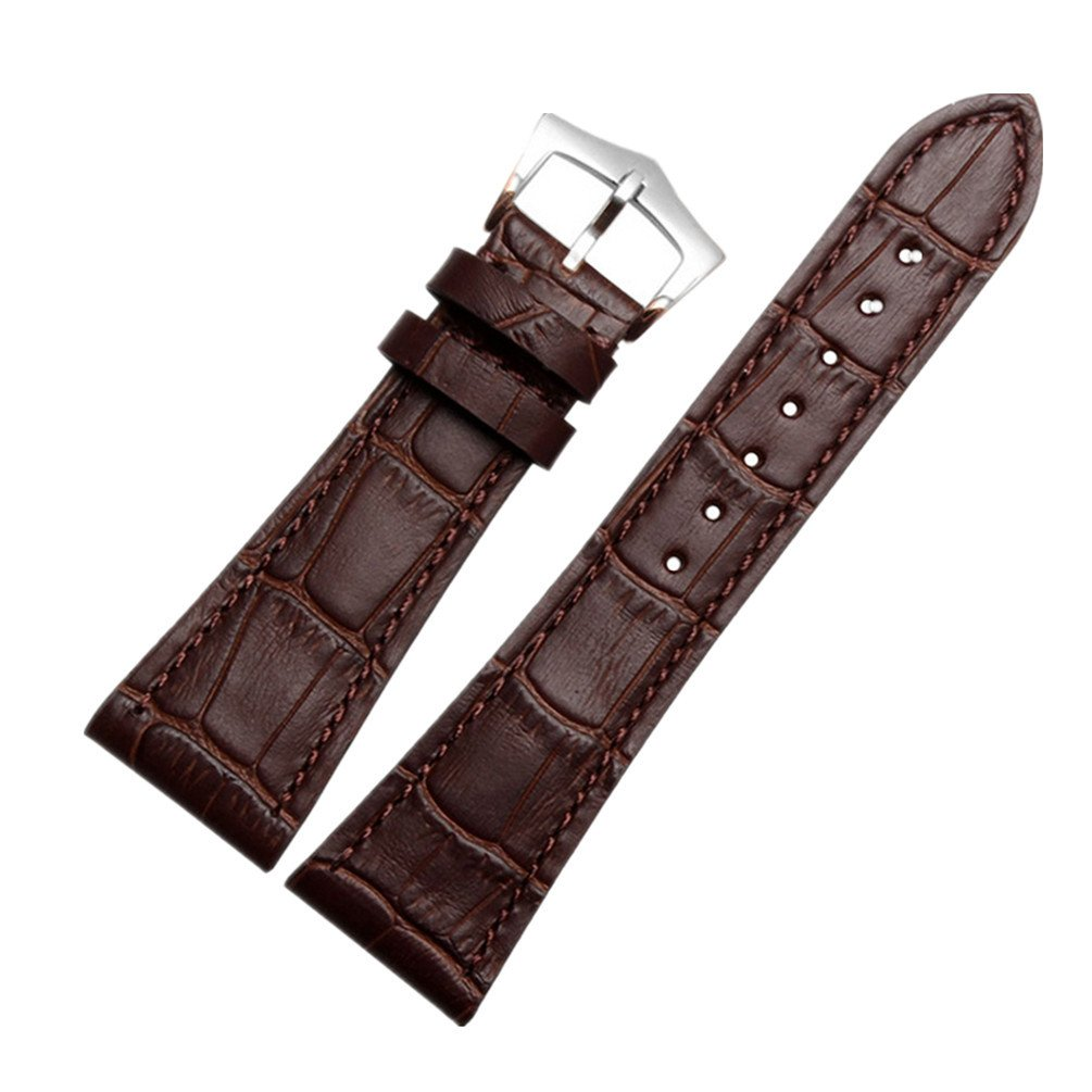 ODETOJOY 25mm Watch Band Brown Genuine Leather Strap Silver Stainless Steel Buckle Watchbands For Men (Silver Buckle, Brown)