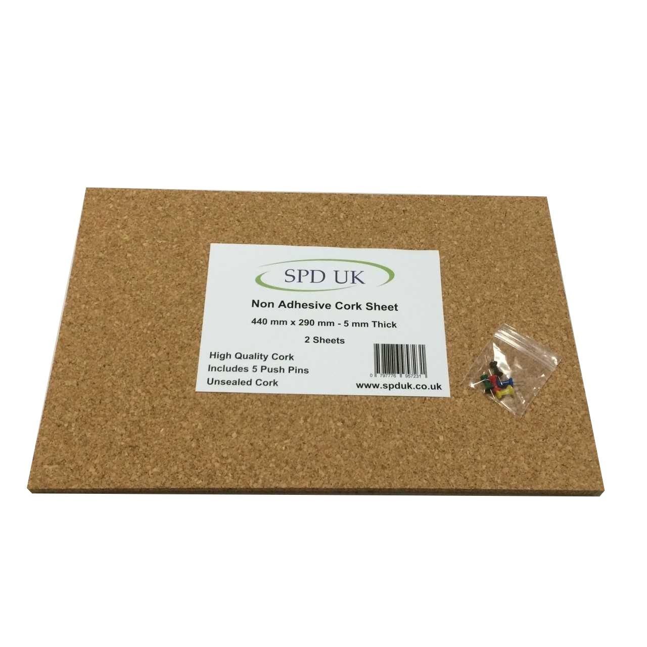 Bacheca in sughero foglio–440mm x 290mm–Spessore 5mm–2confezione SPD UK