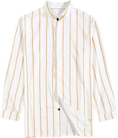 CAOQAO Camisa Hombre Manga Larga Rayado Casual 35% algodón & 65% poliéster Cinco Colores: Amazon.es: Ropa y accesorios